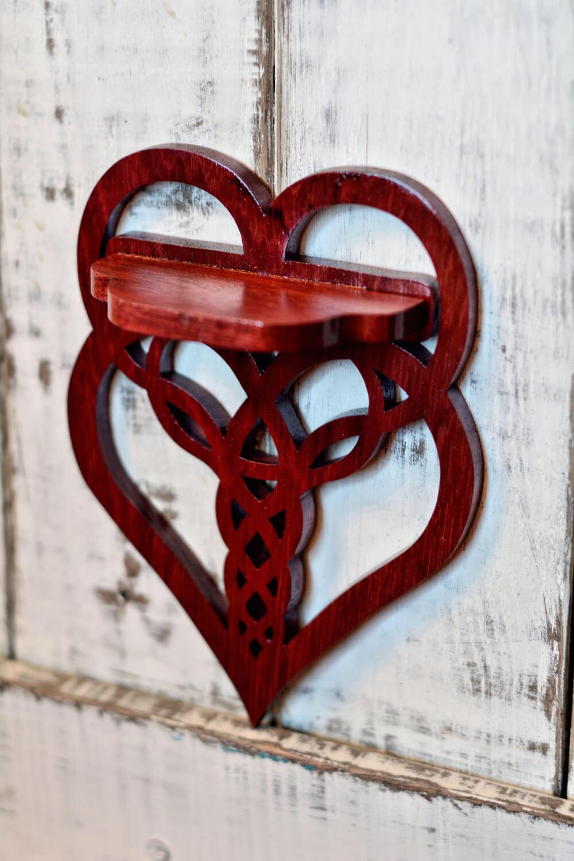 wood heart shelf
